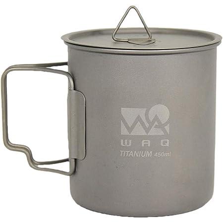 WAQ チタンマグカップ 450ml (蓋付き) キャンプ用 直火 シングル チタンマグ WAQ-TM1