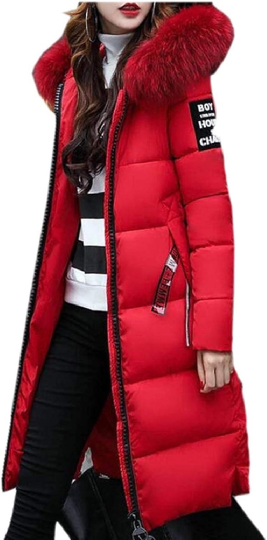 Women's Winter Faux Fur Hood Thick Quilted Parka Long Down Coat Parkas
