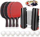 Set da Ping Pong,Professionale Tennis da Tavolo Racket Set , Racchetta/Pagaia + Palline/Sfere + 1 Regolabile Rete per attività All'aperto al Coperto