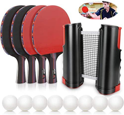 Conjunto de Tenis de Mesa con Red, 4 Raquetas + 8 Bolas/Pelotas de Tenis de Mesa + 1 Red Retráctil, Juego de Tenis de Mesa Portátil