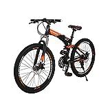 Bicicleta de montaña G7 Marco de acero plegable Bicicleta de montaña Suspensión completa 21 velocidades freno de disco dual 27.5' Bicicleta de montaña (naranja)