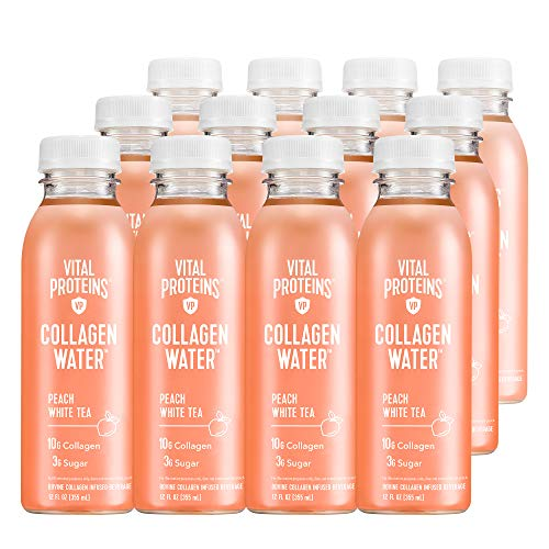 Vital Proteins Collagen Water™, 10g of Collagen per Bottle & Made with Real Fruit Juice, Dairy & Gluten Free - Peach Tea, 12 Pack
