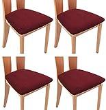 TIANSHU Funda Asiento Silla,Fundas elásticas para Asientos de sillas de Comedor y Oficina Jacquard Poliéster Elástica Fundas sillas Duradera(Paquete de 4,Burdeos)