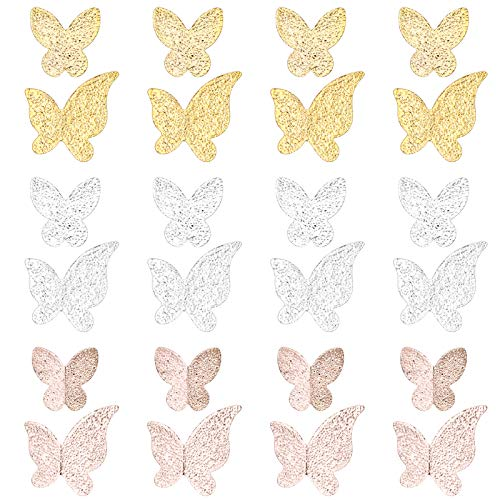 120pcs 3d Butterfly Nail Charms Resin Fillers Alloy Epoxy Resin Supplies for Jewellery Making, Nail Art - Golden & Rose Gold & Silver