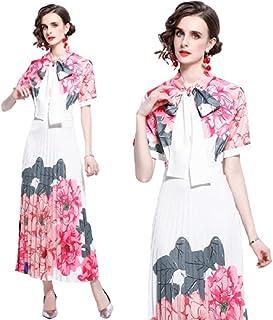 women's clothes fashion apparel elegant floral casual dresses Bow short-sleeve slim dresses-فستان كاجوال نسائي باكمام قصيرة