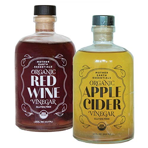 Organic Apple Cider & Red Wine Vinegar Set with The Mother, Comes in Apothecary Glass Bottles with Pour Spouts (2/14oz)