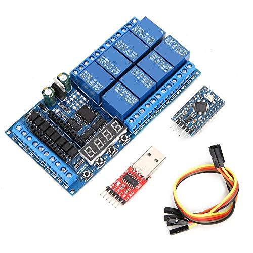 Relaisplatine, DC 12V 8-Kanal Pro Mini-SPS-Relaisabschirmungsmodul Verzögerungs-Timer-Schalttafel für Arduino(#3)