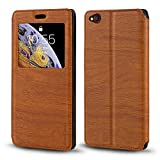 ZTE Nubia M2 Lite Case, Wood Grain Leather Case with Card