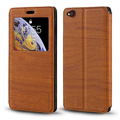 Schutzhülle für ZTE Nubia M2 Lite, Holzmaserung, Leder, mit Kartenhalter & Fenster, Magnetverschluss, für ZTE Nubia M2 Lite