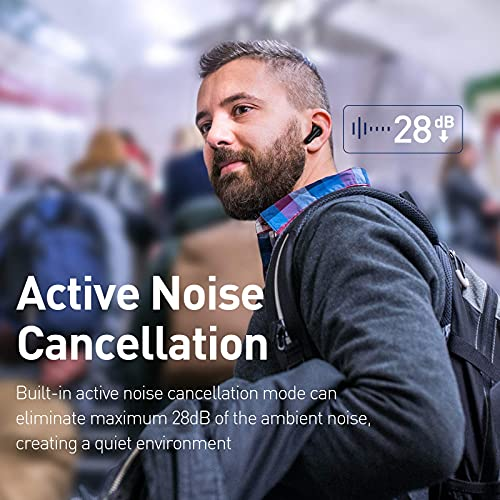 Baseus Wireless Earbuds Active Noise Cancelling, Bluetooth 5.1 Smart Touch Control ANC IPX6 Waterproof Headphones in-Ear with Microphone Built-in Mic Headset TWS Stereo Earphones Black