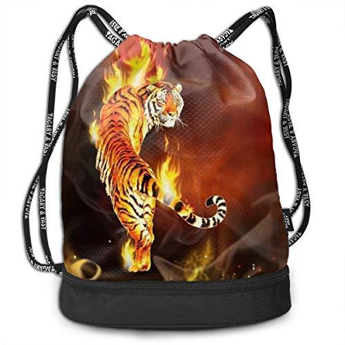 OKIJH Sac à Dos Sac à Dos de Loisirs Sac à Cordon Sac à Dos Multifonctionnel Sac de Sport Gymsack Drawstring Bag Sackpack Cool Tiger Fire Sport Cinch Pack Simple Bundle Pocke Backpack for Men Women