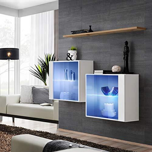 ASM SWITCH III - Juego de aparador con estante de pared (130 cm de ancho, dos armarios de exposición, puertas de cristal, roble Wotan, color blanco brillante