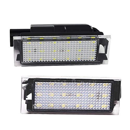 LncBoc Luces de matrícula LED para matrícula de matrícula 18SMD 2835 6000K blanco frío para R-e-nault, Vel Satis, Twingo, Clio, Espace, Laguna, Master, Megane, 2 piezas