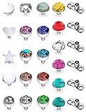 SCERRING 14G Dermal Piercing Jewelry Anchor Tops and Base Titanium Microdermals Piercing for Women Men CZ Ball Flat Moon Star Opal Heart 3mm 27PCS