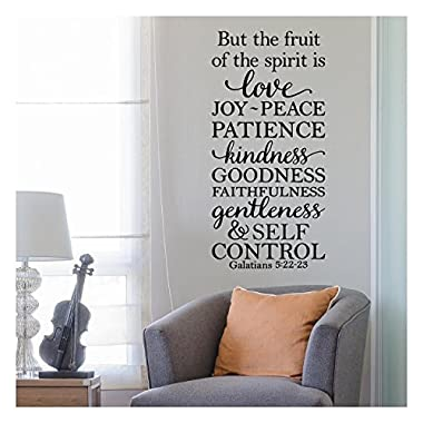 But the Fruit of the Spirit is Love, Joy, Peace, Patience, Kindness, Goodness, Faithfulness...Galatians 5:22-23 Vinyl Lettering Wall Decal Sticker (34 H x 16 W, Black)
