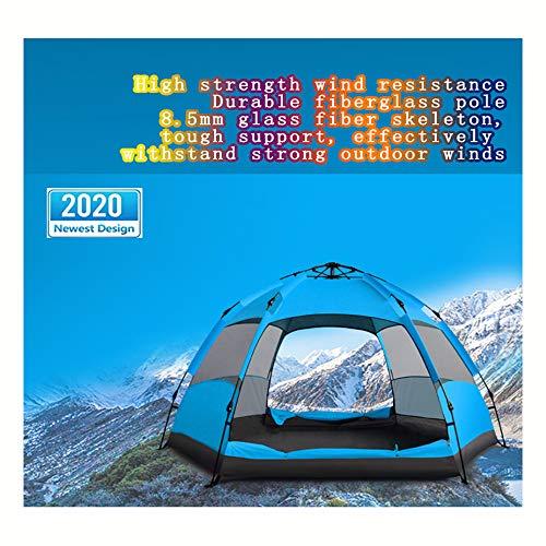 Tente Hexagonale Extérieure à Double Couche 3-4 Personnes Entièrement Automatique Camping Équipement Pluie Voyage Conduite Portable