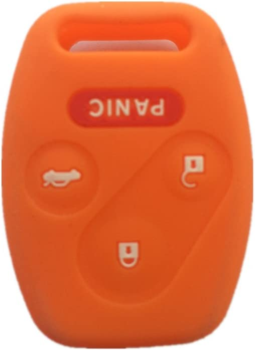 Orange Silicone Rubber Keyless Entry Remote Key Fob Case Skin Cover Protector for Honda 3+1 Buttons