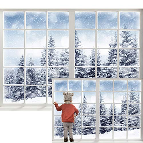 Maijoeyy 7x5ft Winter Backdrop Forest Winter Window Backdrops for Photography Winter Backdrop for Pictures Christmas Winter Backdrops for New Year Party Decorations