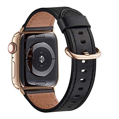 WFEAGL Correa para Correa Apple Watch 42mm 44mm 38mm 40mm, Correa de Repuesto de Cuero Multicolor para iWatch Serie 5/4/3/2/1(42mm 44mm,Negro/Oro)