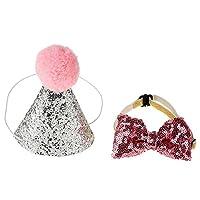 Anauto [ペットキャップ] 犬 猫用 誕生日 プレゼント かわいいペット 誕生日のキャップちょう結び パーティー コスプレ 衣装帽子ちょう結びの服の帽子(ブルー/ピンク)(ピンク)