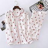 XFLOWR Spring Ladies Pyjamas Set Crepe Cotton Cute Lollipop Printed Long Sleeve and Pants Conjunto de Ropa de Dormir Mujeres Soft Comfort Homewear L White