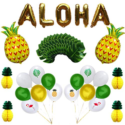 Luau Hawaiian Party Decoration Set Including Aloha Balloons, Tropical Balloons, Artificial Palm Leaves, Tissue Paper Pineapples, Summer Party Supplies