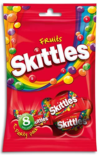 Skittles Kaubonbons, Fruits, Party Pack, 1 Packung á 8 Minibeutel, 208 g