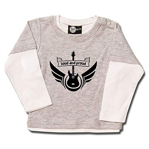 Metal Kids Loud and Proud - Baby Skater Shirt, grau Melange/weiß, Größe 62 (3-6 Monate), 100% Statement