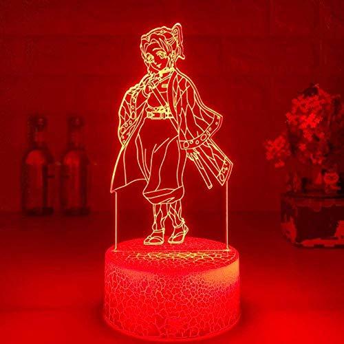 Luces de noche 3D y niñas Ilusión Anime Kids Luces LED 3D: Kamado Nezuko Tanjirou Figura LED Luz de noche Regalos Figura 7 Colores Touch Anime
