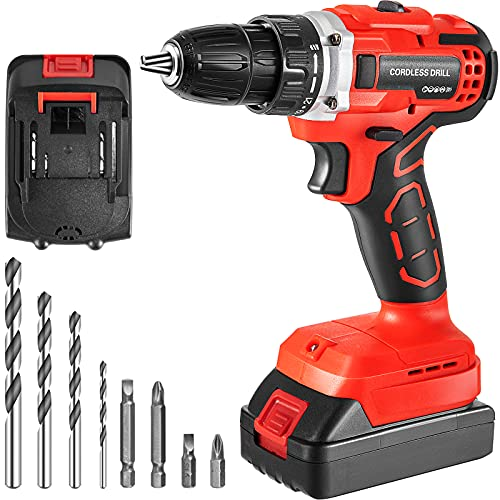 VEVOR Cordless Drill Driver, 20V 2Ah Cordless Drill Combo Kit, 2/5' Keyless Chuck Impact Drill, Electric Screwdriver Set with 2 Speed, 21+1 Torque Brushless Cordless Drill for Home Improvement & DIY