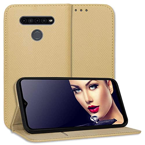 mtb more energy® Schutz-Tasche Bookstyle für LG K41S (LM-K410, 6.5'') - Gold - Kunstleder - Klapp-Cover Hülle Wallet Hülle