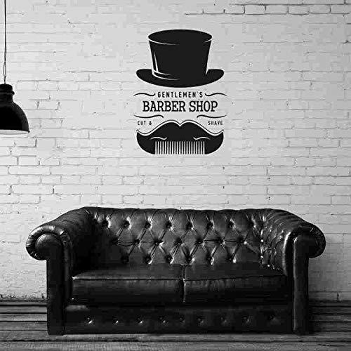ASFGA Friseur Aufkleber benutzerdefinierte Shop Aufkleber Poster Vinyl Wandkunst Dekoration Fensterdekoration Friseur Rasiermesser Aufkleber Friseursalon 58x76cm