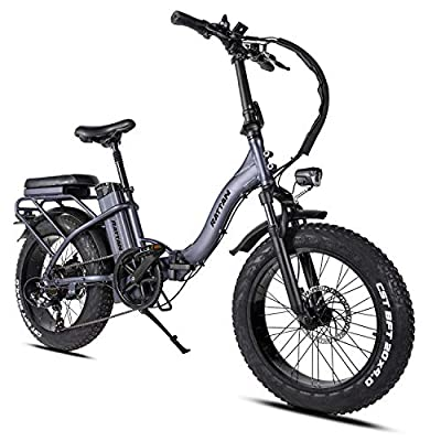 Rattan 48V 750W Electric Bike for Adults Folding Bikes 4.0 Fat Tire Bikes 13AH Removable Lithium-ion Battery E-Bikes 7 Speed Shifter Electric Bicycle Low Step Across ebikes