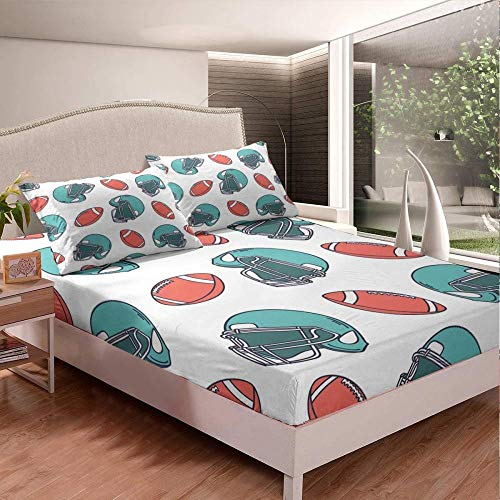 fitted single sheets,Football Bed Sheet Set Sports Theme Bedding Set for Kids Boys Teens Rugby Match Fitted Sheet Competitive Games Bed Cover-40_150 * 210