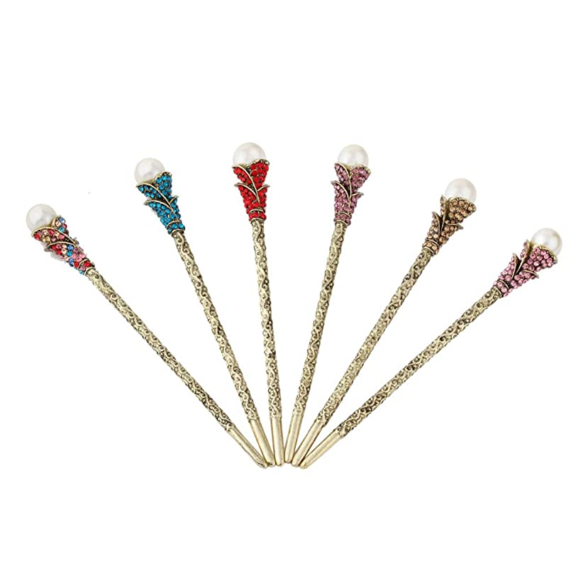 ウイルスきれいにステープルFrcolor 女性のための真珠の優雅な古代のラインストーンのヘアピン咲くヘアピンの頭飾りと伝統的な中国の花のヘアピン箸