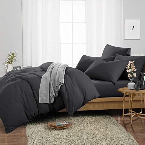 Juego de ropa de cama de 3 piezas de 1000 hilos, súper suave, 100% algodón egipcio, juego de funda de edredón con dos fundas de almohada, tamaño doble, color gris oscuro sólido