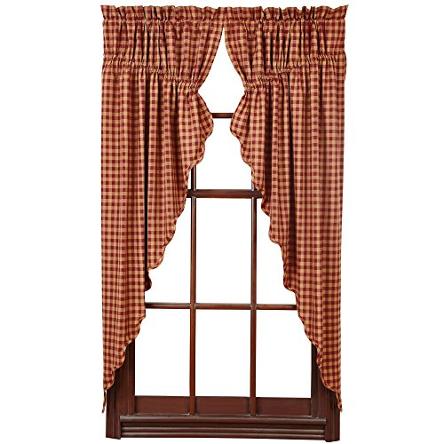 VHC Brands Burgundy Check Scalloped Prairie Short Panel Set of 2 63x36x18 Country Curtains, Burgundy and Tan