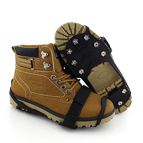 ZL Crampons antidérapants à Cinq Dents pour l'escalade de Glace Crampons antidérapants d'extérieur Couvre-Chaussures antidérapant en Velcro Couvre-Chaussures en Silicone Unisexe,l