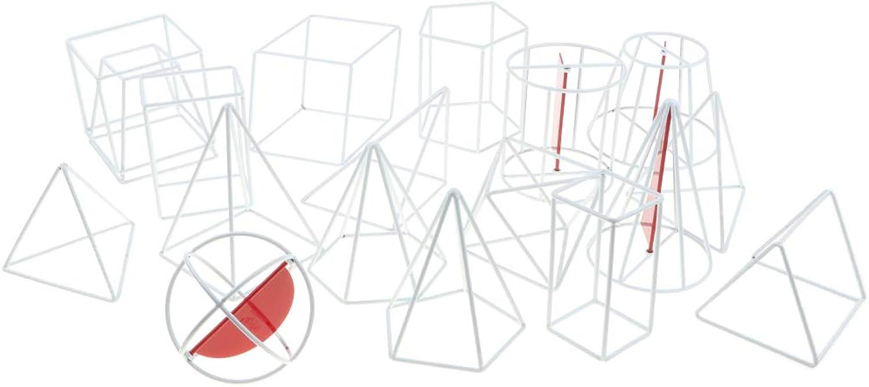 D DOLITY 18pcs Plastic Geometric Solid 3D Shapes Math Mathematical Geometry Educational Toy High School Teacher Visual Aids