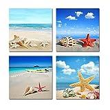 4 unids/set arte de pared lienzo de impresión moderna pinturas mar playa concha estrella de mar imágenes de pared para decoración del hogar 1Marco integrado de 50 * 50 cm