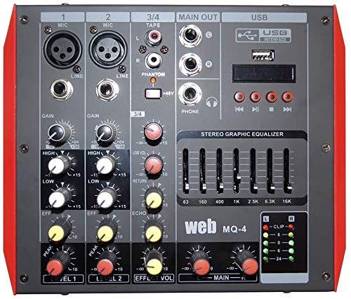MIXER AMPLIFICATO ATTIVO BLUETOOTH Compatto 400W DJ KARAOKE LIVE + DISPLAY + USB + PHANTOM +48V