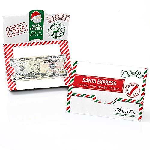 Big Dot of Happiness Santa's Special Delivery - Juego de 8 soportes para tarjetas de Navidad y dinero de Papá Noel