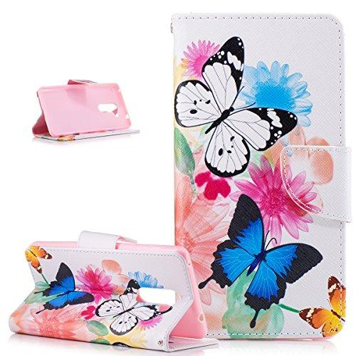 Kompatibel mit Huawei Honor 6X Hülle,Malerei Blumen Schmetterling Bär Muster PU Lederhülle Flip Hülle Cover Schale Ständer Wallet Hülle Schutzhülle für Huawei Honor 6X,Bunte Blumen Schmetterlings