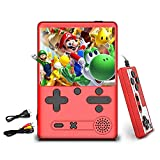 Kammoy Mini Video Game Player, Retro Handheld Game Console, 500 Classic FC Games, 3.0 Inch HD Screen Portable Game Console, Support Connecting TV & 2 Gamer Players (Red)