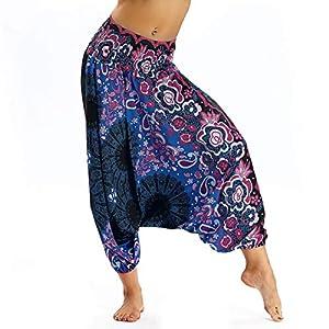 Pantalones de Yoga Boho para Mujer, Pantalones de harén, Pantalones de Playa Casuales fluidos Hippie Talla única | DeHippies.com