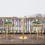 HQBL Mesa de Bar Redonda Moderna con Tablero de mármol Blanco de 23.6 Pulgadas - Mesas Altas de Comedor en casa fáciles de Montar, con Patas de Hierro de Metal Dorado - para 2-4 Personas