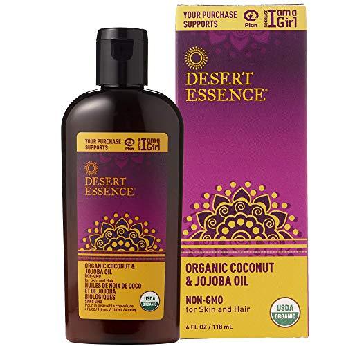 Desert Essence Organic Coconut and Jojoba Oil - 4 Fl Oz - For Skin and Hair - Beauty Oil - No Oily Residue - Absorbs Quickly - Rejuvenates Skin - USDA Certified - Moisturizes Skin