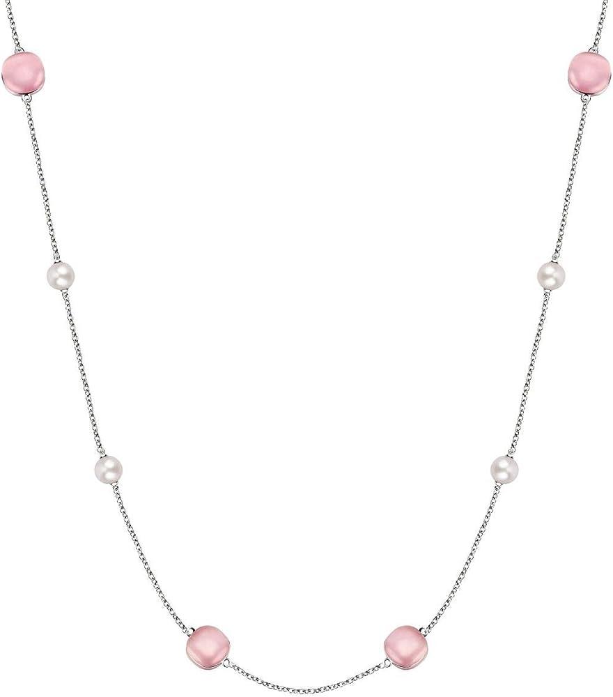Morellato, collana da donna, collezione gemma perla, in argento 925 e perle coltivate SATC01