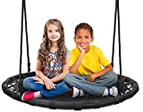 Sorbus Spinner Swing – Kids Round Mat Swing – Great for Tree, Swing Set, Backyard, Playground, Playroom – Accessories Included [New Improved 2020 Design!] (40' Mat Seat)
