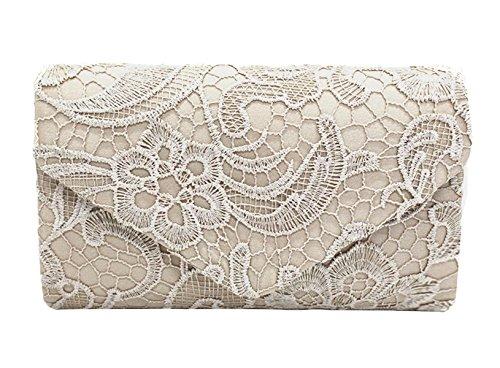 DNFC Damen Elegant Clutch Abendtasche mit Langer Kette Handtasche Frauen Umhängetasche Spitze Tasche Party Hochzeit Kettentasche Clutch Tasche (Aprikose)